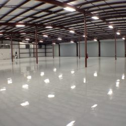 Epoxy urethane flooring in truck shop
