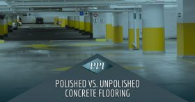 Parking garage with polished epoxy floors