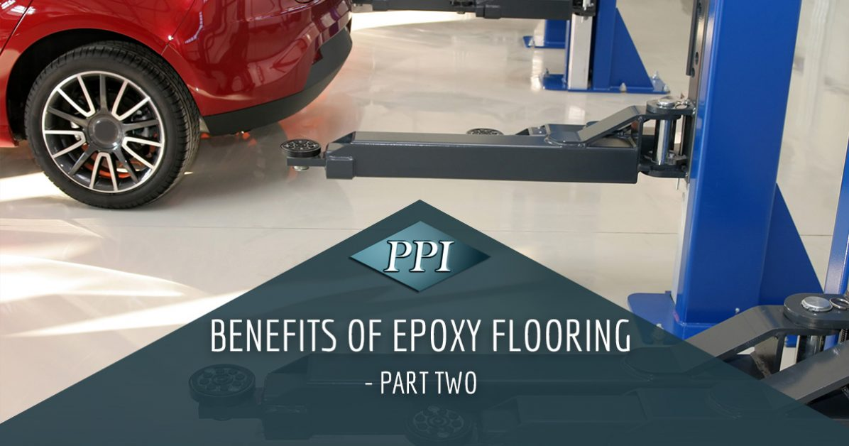 New epoxy flooring in mechanic's garage