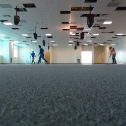 Floor installation professionals working inside of office building