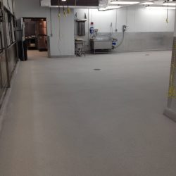 Newly installed epoxy flooring in empty commercial building