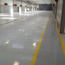 Empty warehouse with new epoxy floors
