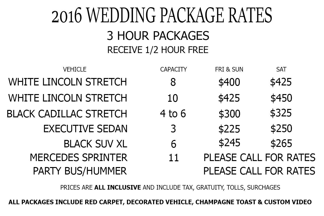 WEDDING RATES 2016