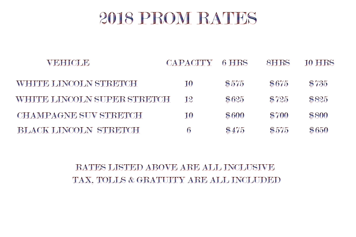 Prom Limo Rates for 2018