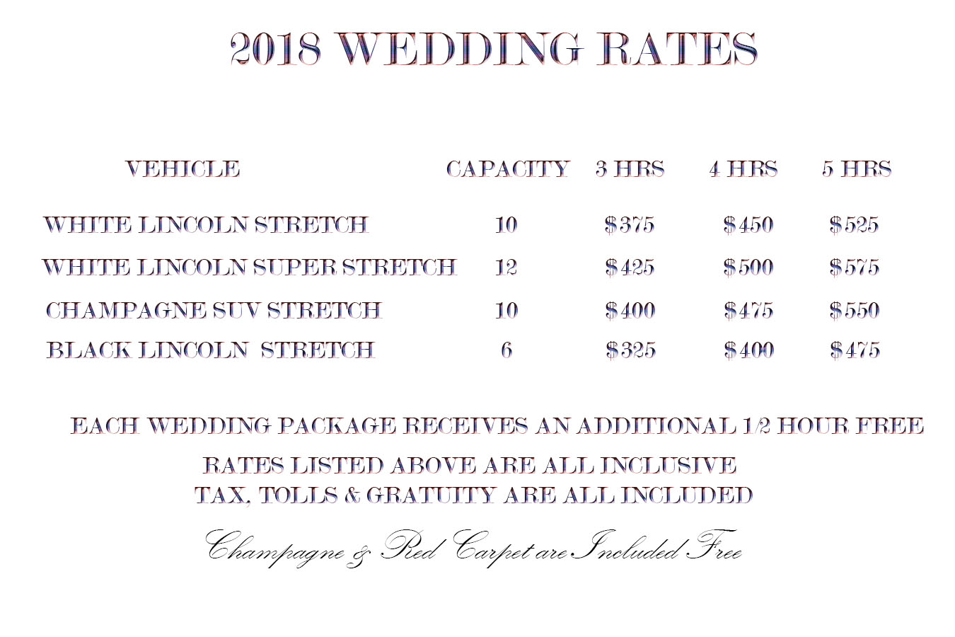 Wedding Rates for 2018