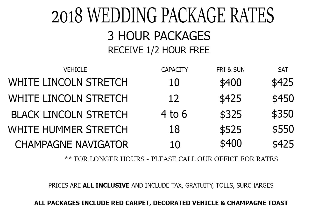 2018 Limo Wedding Rates NJ