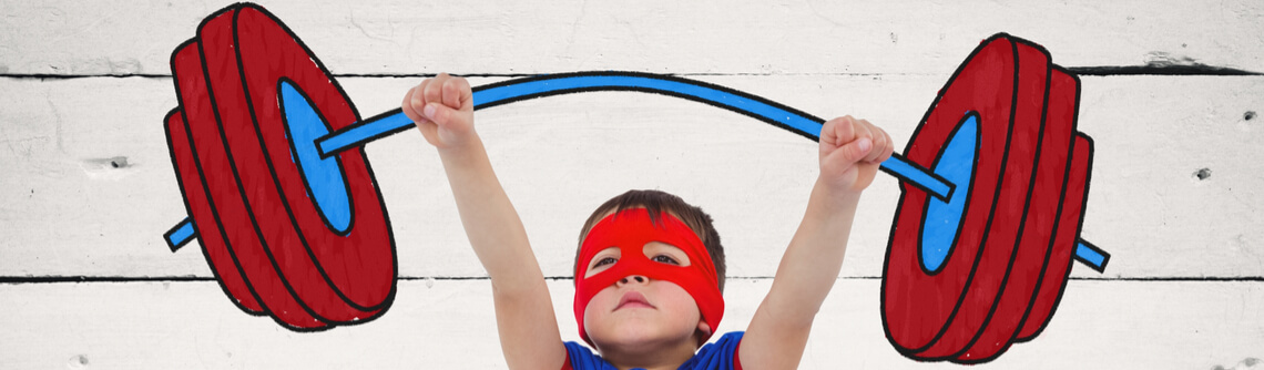 superhero child weightlifting