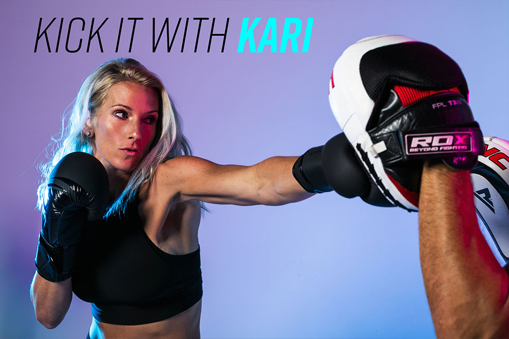 Kari leading a muay thai kickboxing class at PumpFit Club in Fort Lauderdale.