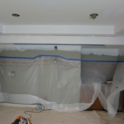 Interior painting preparation in Seattle.