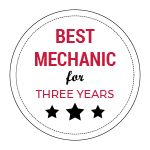 Best Mechanic for Three Years badge.