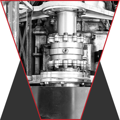 An image of a transmission in black and white.