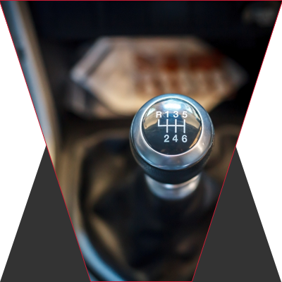 The shifting stick on a manual transmission.