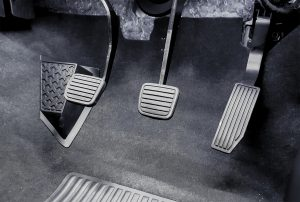 clutch pedal, brake pedal, gas pedal in manual transmission vehicle