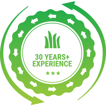A 30 years of landscaping experience badge.