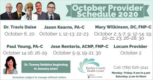October 2020 Rawlins Clinic Provider Schedule