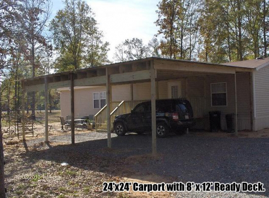 Covered carport carport shelter mobile home carport for Carport deck