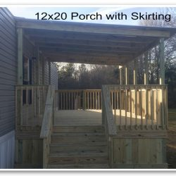 A large 12x20 covered porch with wood skirting - Ready Decks