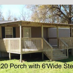 A mobile home with a 12x20 covered porch and 6' wide steps - Ready Decks