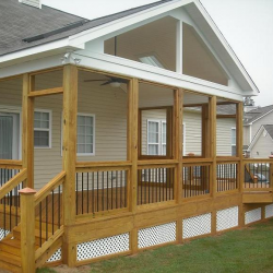 Front gable porch with iron and wood railing - Ready Decks