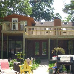A second story deck with stairs to second level - Ready Decks