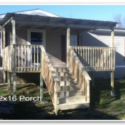A 12x16 covered porch with stairs and railing - Ready Decks