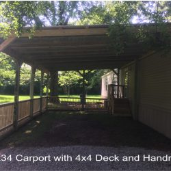 A 20x34 carport with 4x4 deck off of a mobile home - Ready Decks