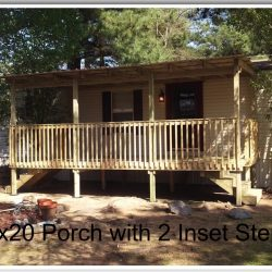 10x20 porch with two inset steps and railing - Ready Decks