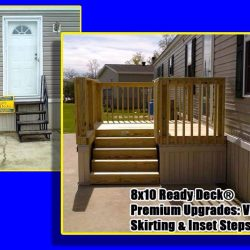 Before and after image of metal stairs and wooden deck built for a mobile home - Ready Decks