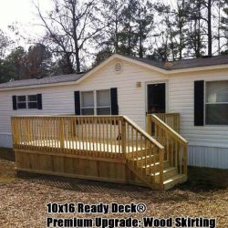 A mobile home with a 10x16 wooden deck off the door - Ready Decks