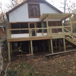 A second story deck with pergola and stairs - Ready Decks