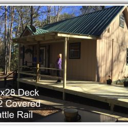 A house with 10x28 deck, half covered with cattle rail - Ready Decks