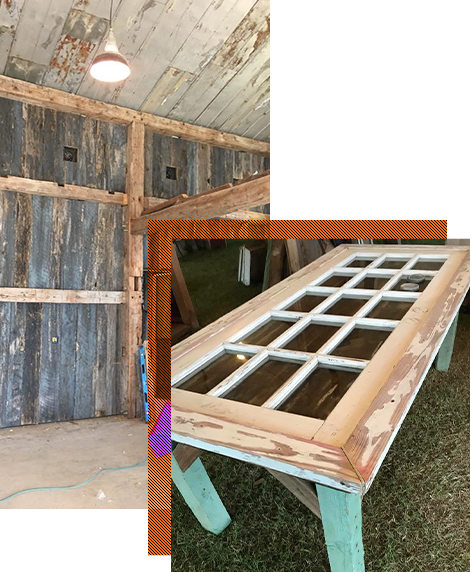 Reclaimed Wood Wall and Table