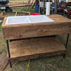 Repurposed Wood Sink and Countertop