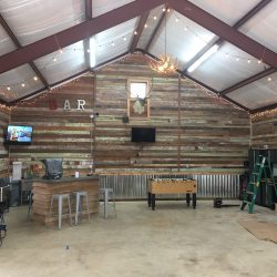 Reclaimed Wood Walls in Entertainment Space