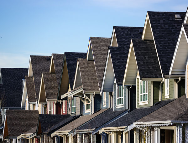 Roofs of Townhomes in a Line