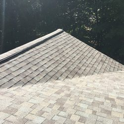 New Grey Asphalt Shingles on Eave
