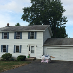 Grey Asphalt Shingles Installed on Home & Garage