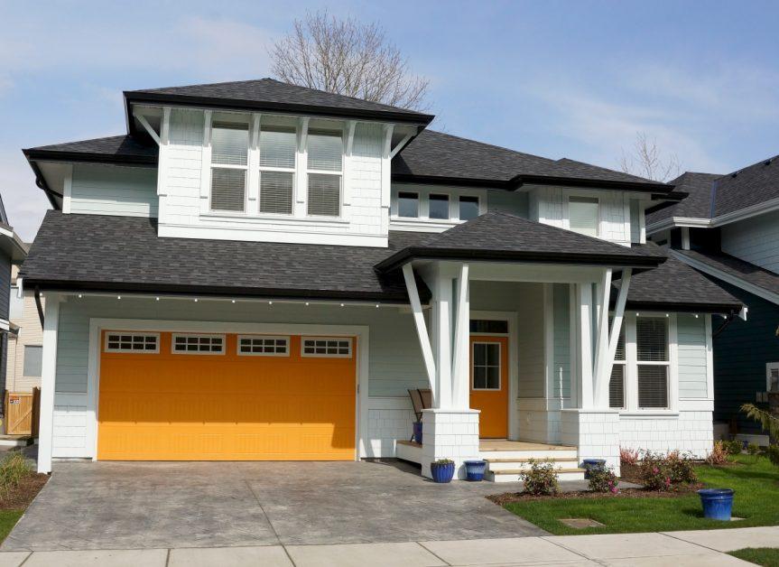New Home With Black Asphalt Shingle Roof