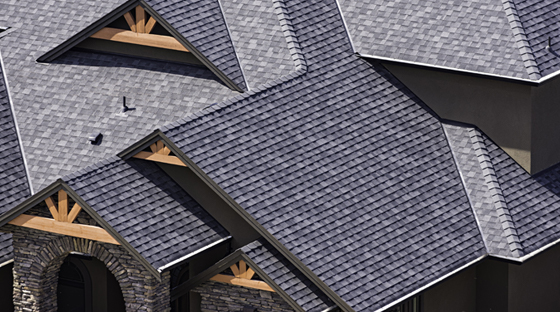 Large Roof With New Black Shingles