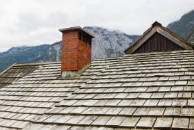Wood Shake Roof With a Chimney