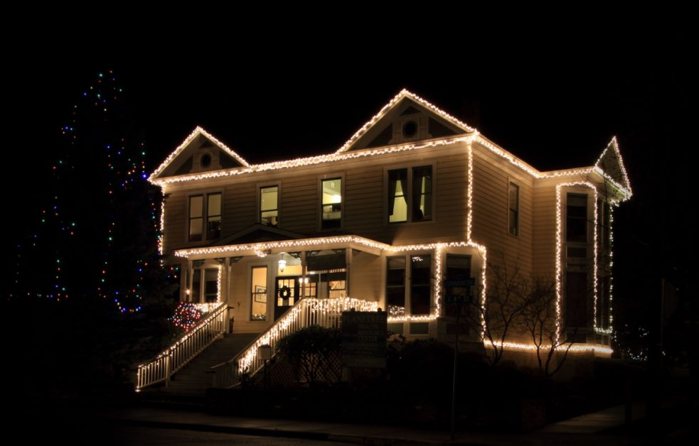 Holiday Lights on Home at Night