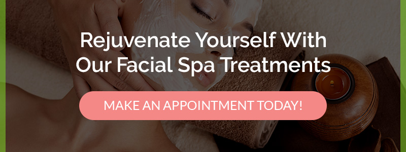 Call to action for rejuvenating facial spa treatment showing woman with facial cream.