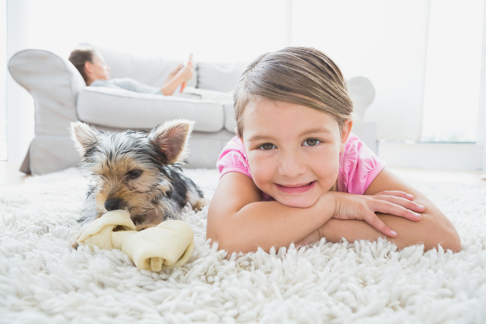 girl & puppy carpet