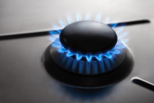 Image of a burner emitting blue flame