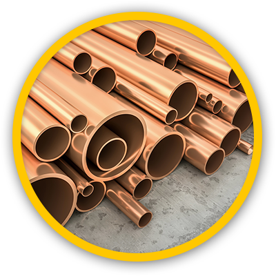 Close up rounded image of copper tubing bundle