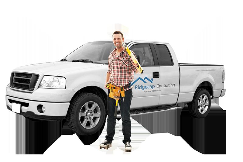 Contractor standing in front of Ridgecap Consulting truck in Plano, TX