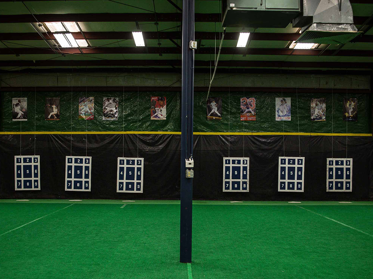 An image of a practice area inside of Rip City Training's baseball training facility.