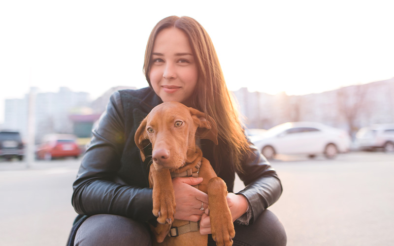 A girl with her dog in a parking lot