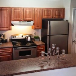 A narrow kitchen with wood floors and dark countertops?