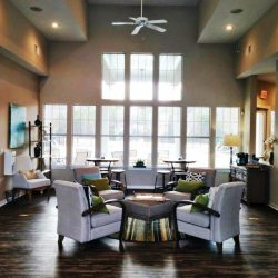 A wide, open room with lots of windows and dark, hand-textured wood floors.